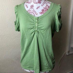 August Silk Short Sleeve Blouse XL Light Green
